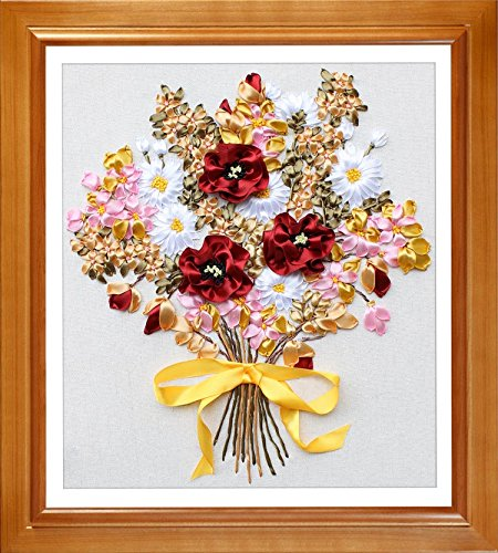 Ribbon embroidery Kit,Fanryn 3D Silk ribbon embroidery Orchid flower pattern design Cross Stitch Kit Embroidery for beginner DIY Handwork Home Decoration Wall Decor 50x45cm (No frame)