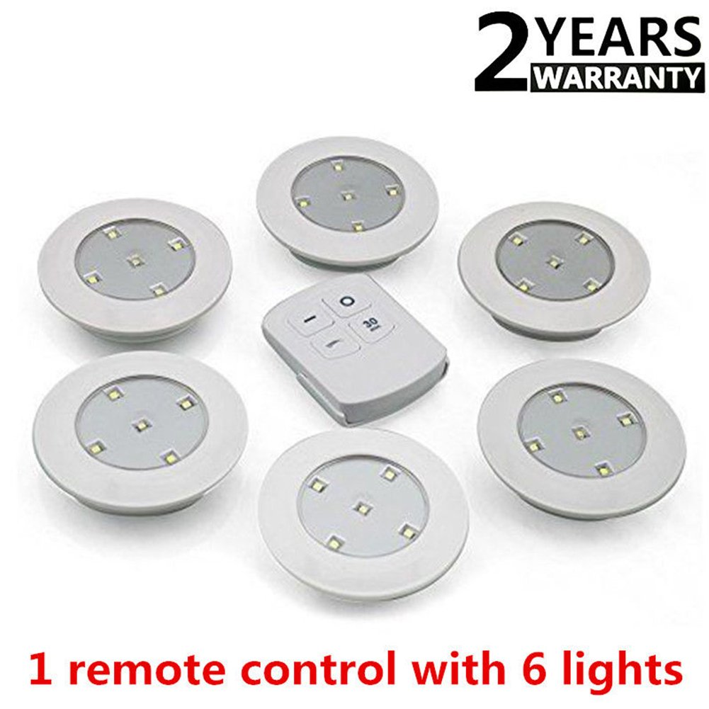 Zehui 6PCS LED Wireless Kitchen Counter Under Cabinet Closets Lighting Wireless Remote Control Touch Light White Light 6 pcs+Remote Control