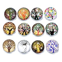 12pcs/lot Multi Options Wisdom Tree Of Life Theme Glass Snap Charms 18mm Ginger Snap Button For 20mm Snap Bracelet Snap Jewelry (KZ0155)