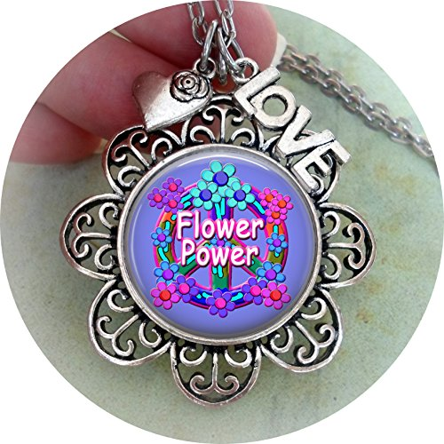 Love Beads Hippie (Flower Power Necklace with Heart and LOVE charms, made w-lOve)