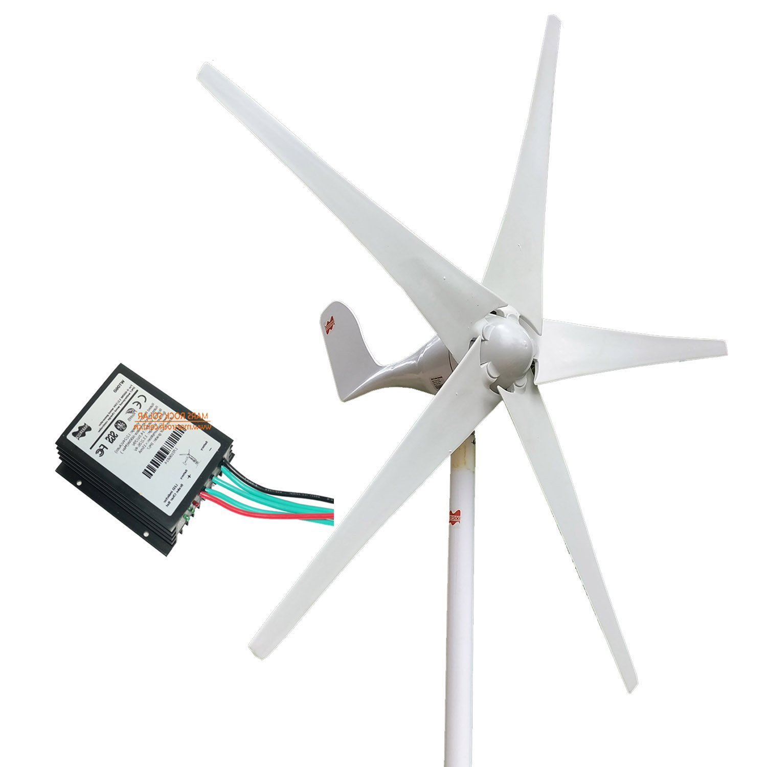 MarsRock Wind Turbine Generator + Wind Controller, 400W Economy Windmill for Wind Solar Hybrid System 2m/s Low Star-up Wind Speed AC 12Volt or 24Vollt 5 Blades (400Watt 12Volt) by MarsRock