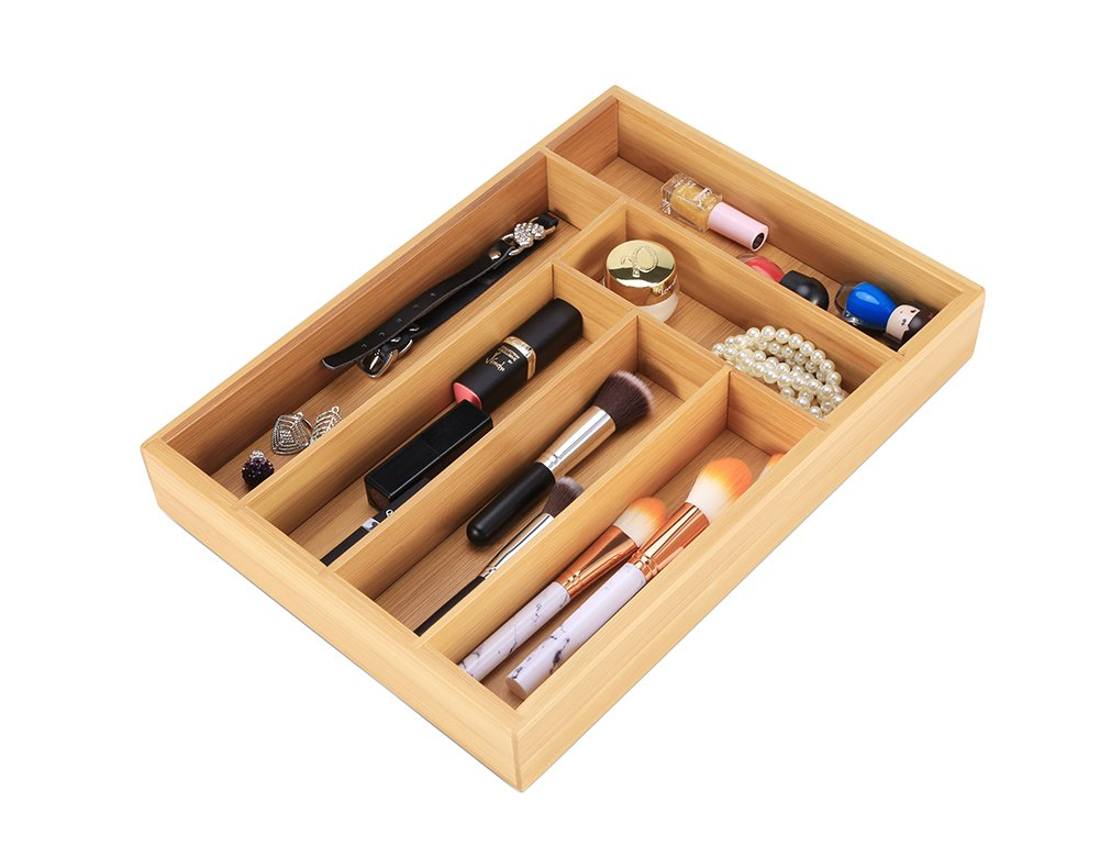 Cutlery Tray Kitchen Utensil Drawer - Bamboo 6 Slot Silverware Drawer Dividers - Storage Wooden Organizer Flatware Holder by Exblue (Image #2)