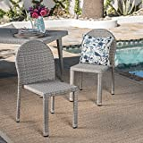 Great Deal Furniture Alamo   Wicker Outdoor Stacking Chairs   Set of 2   Perfect for Patio   in Chateau Grey