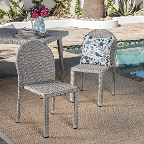 Great Deal Furniture Alamo   Wicker Outdoor Stacking Chairs   Set of 2   Perfect for Patio   in Chateau Grey Review