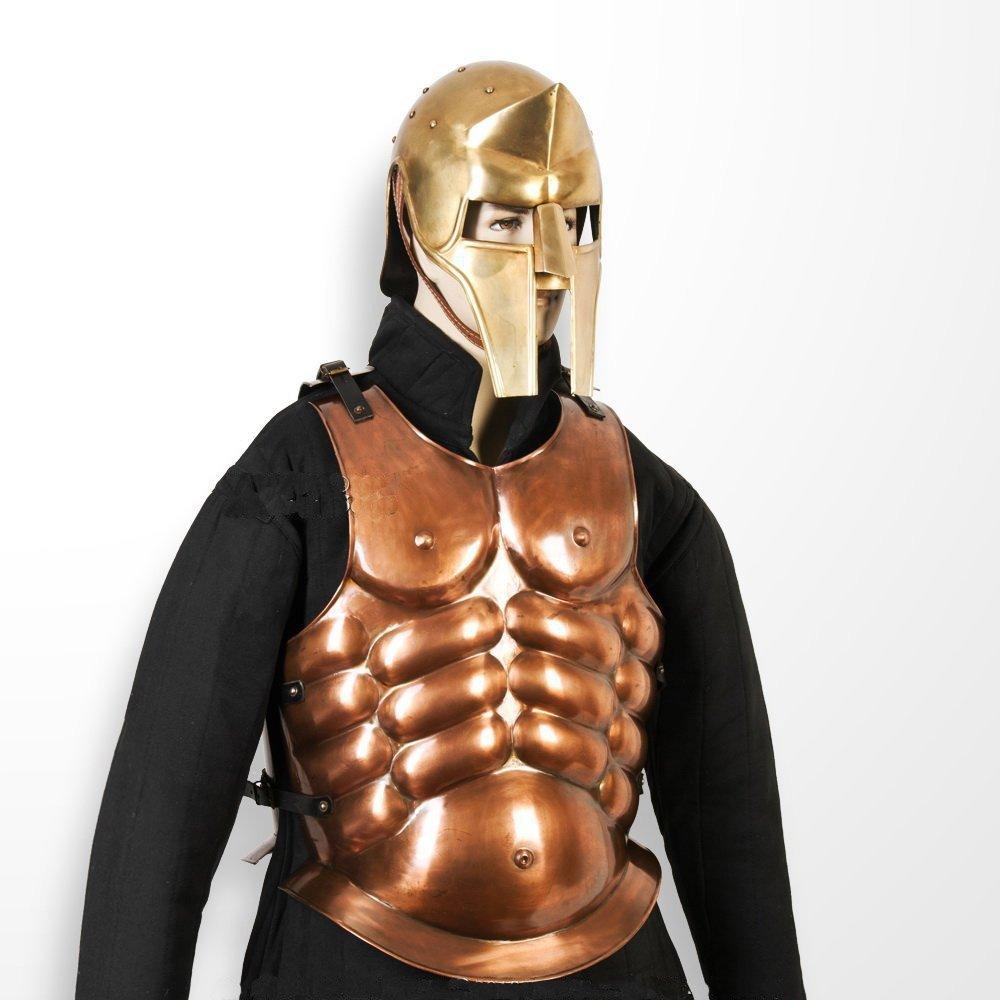 中世ギリシャスパルタ銅コーティングスチールBreastプレート中世マッスルCuirass Armour