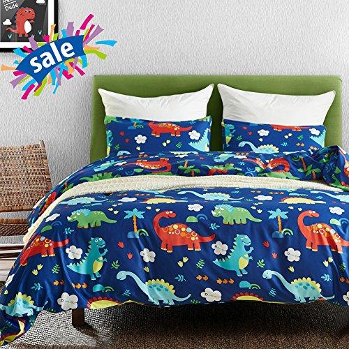Macohome Dinosaur Kids Duvet Cover Set Queen Size Boys Cartoon Soft Microfiber Bedding Set with 2 Envelope Pillowcases (Dinosaur, Queen)
