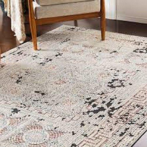Blush & Gray Distressed Mosaic Area Rug (7'10