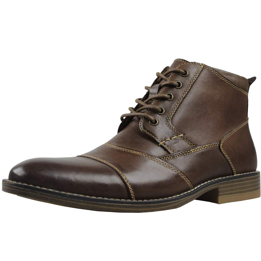 Kunsto Men's Genuine Leather Oxfords Dress Ankle Boots with Zipper Light Coffee Size 9.5 by Kunsto