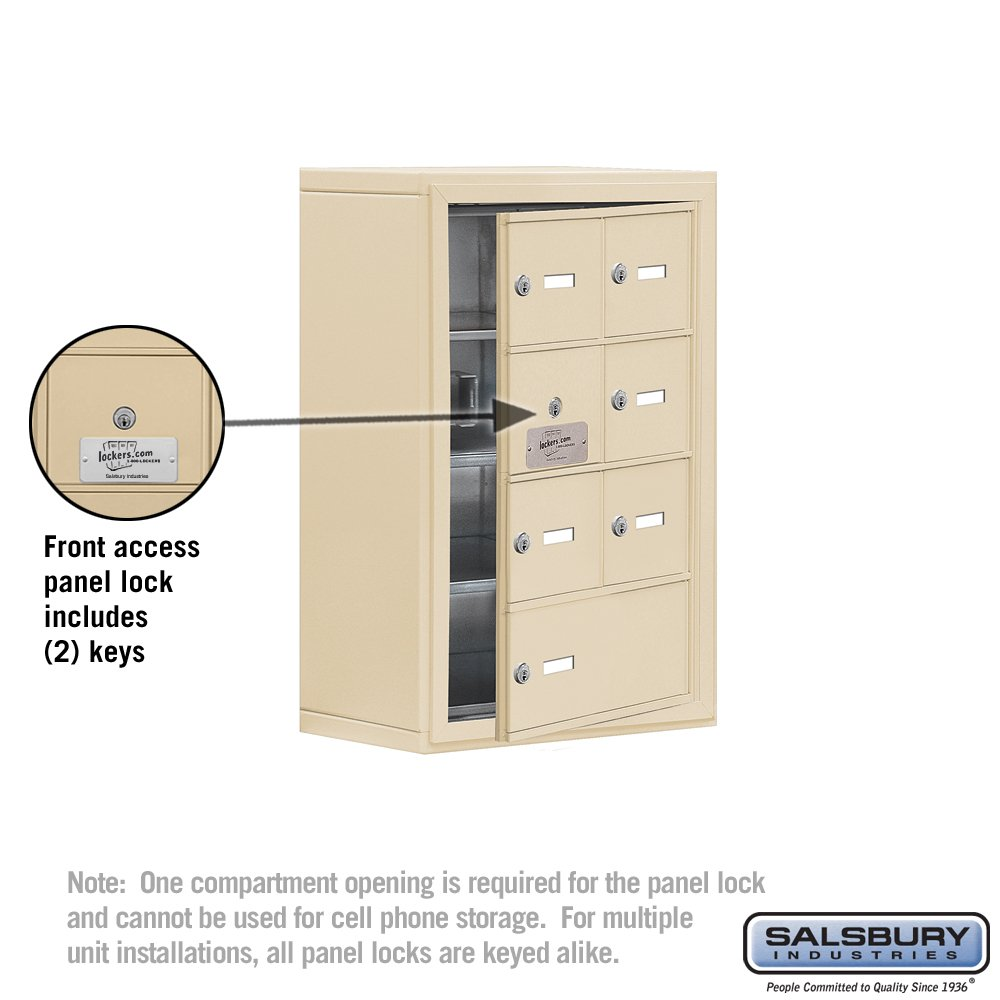 Salsbury Industries 19148-07SSK Cell Phone-Access Panel-4 Unit Surface Mounted-Keyed Locks with 8-Inch Diameter Compartments Sandstone