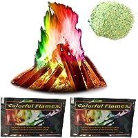 Sklepee Rainbow Fire - Llamas coloridas, 2 paquetes de colores de fuego en polvo de llama colorida para chimenea, chimenea,…