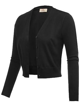 a0865b4a142 GRACE KARIN Women Long Sleeve Cropped Short Bolero Shrug Sweater Black Size  S CL2000-1