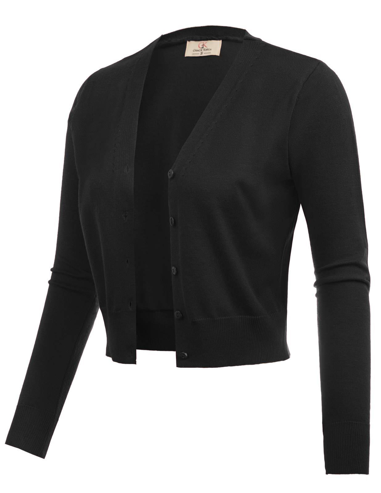 Woven Long Sleeve Bolero Shrug Jacket Cardigan Black Size L CL2000-1