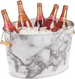 mDesign Metal Beverage Tub & Soda Pop, Beer, Wine, Ice Holder - Portable Party Drink Chiller - 18 Liter Container - Rustic Vintage Farmhouse Oval Storage Bucket Bin - Marble/Wood Handles