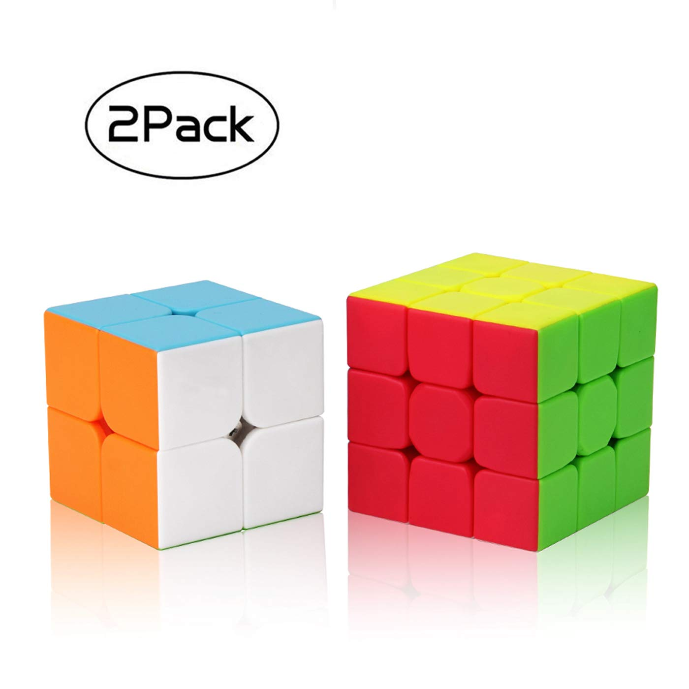 Speed Cube Set, Roxenda Profession 2x2x2 3x3x3 Speed Cube Bundle - Easy Turning and Smooth Play - Solid Durable & Stickerless Frosted - Turns Quicker and More Precisely Than Original