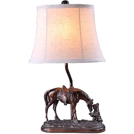 HW.Q Lámpara De Mesa American Art Horse Lámpara De Mesa ...