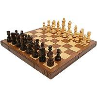 Trademark Games 12-2114 Walnut Book-Style Chess Board with Staunton Chessmen, Brown