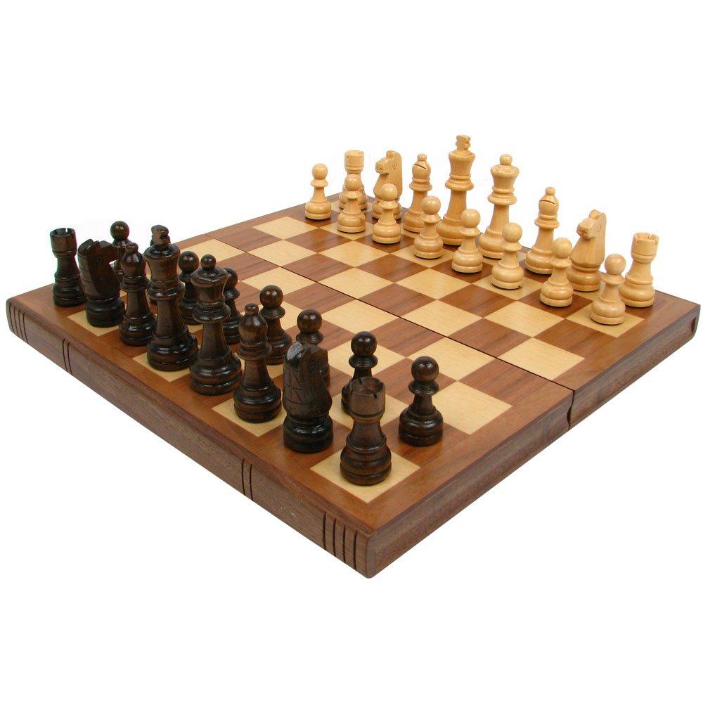 Trademark Games Walnuss Book Schachbrett mit Staunton-Schachfiguren, braun