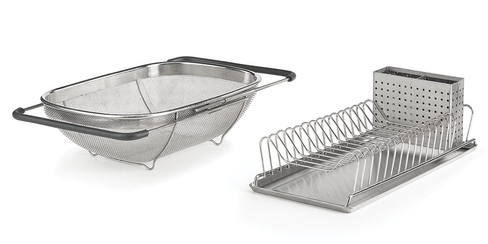 EverHome Compact Dish Rack & Sink Strainer Combo Pack, Rust-Resistant Stainless Steel – Requires Limited Countertop Space
