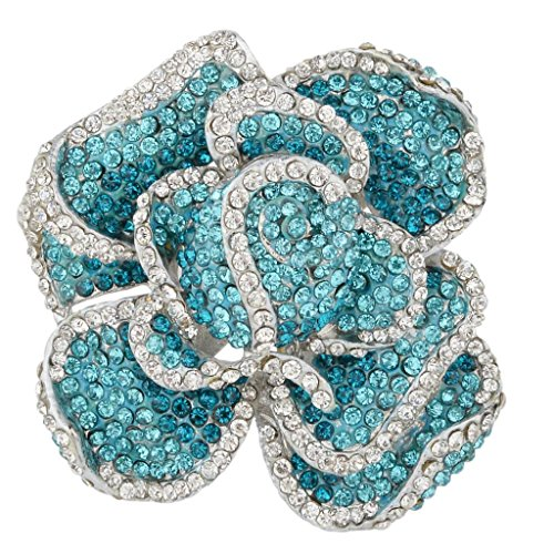 (EVER FAITH Austrian Crystal Blooming Rose Flower Adjustable Statement Ring Blue Silver-Tone)