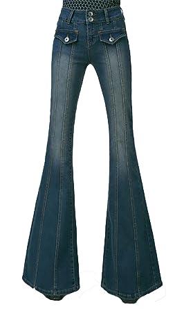 9c6318f4eda CRYYU-Women High Waist Denim Plus Size Bell Bottom Flares Pants Dark Blue 27