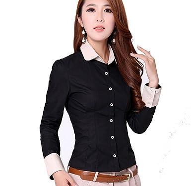 Ygt Women S Slim Turn Down Collar Button Down Dress Shirt Blouse