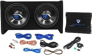 """Rockville RV10.2B 1000w Dual 10"""" Car Subwoofer Enclosure+Mono Amplifier+Amp Kit"""