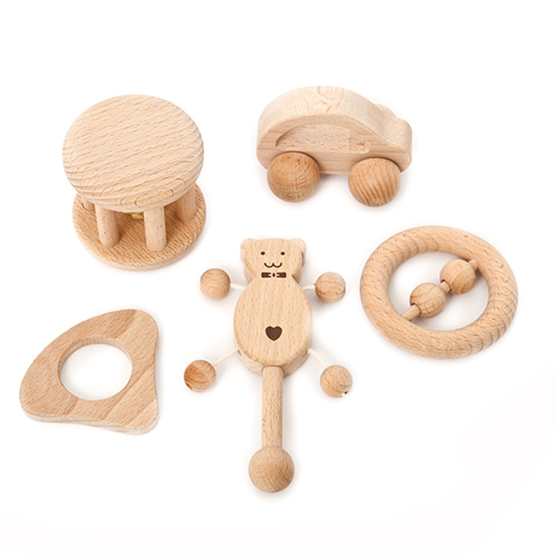 Amyster Puzzle Toys Intellectual Development of Children Montessori Toys Set Nursing Wooden Teether Rattles Baby Fun and Interesting Toy by Amyster