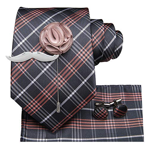 (Dubulle Plaid Necktie for Men with Pocket Square Mustache Tie Bar Lapel Pin Cufflinks)