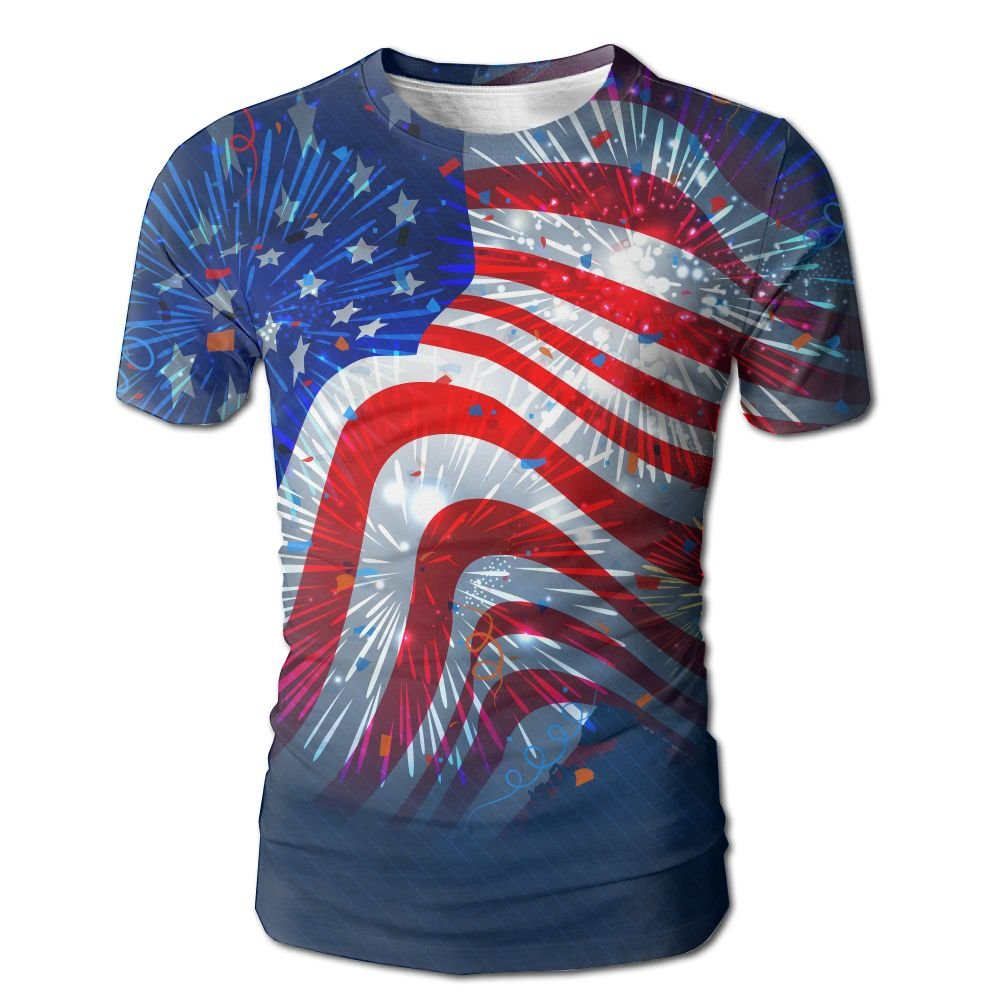 XIA WUEY American Flag Firework Casual Baseball Tshirt Graphic Tee Tops For Sports by XIA WUEY