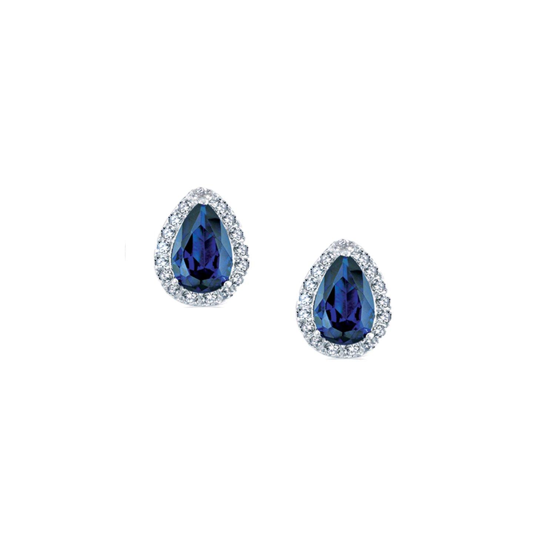 Landau 2 CTTW Pear Shaped Saphire CZ Earrings in Silvertone