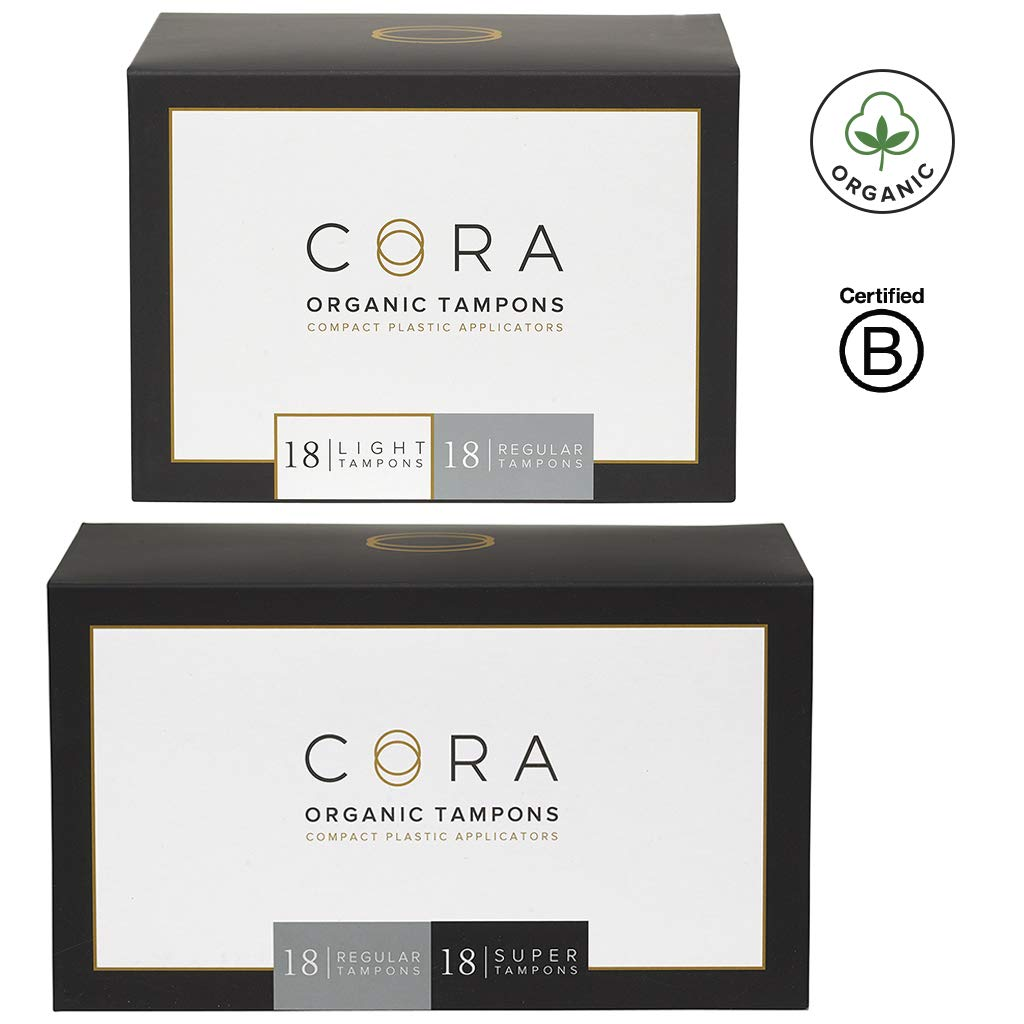 Cora Organic Cotton Tampons with BPA-Free Plastic Compact Applicator; Chlorine & Toxin Free - Variety Pack - Light/Regular/Super (72 Count) by Cora