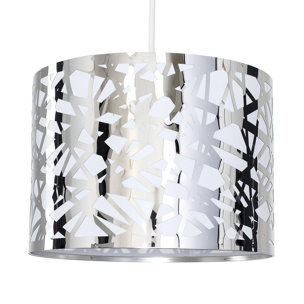 Modern Decorative Polished Chrome Effect Lattice Web Metal Cylinder Ceiling Pendant Drum Light Shade MiniSun