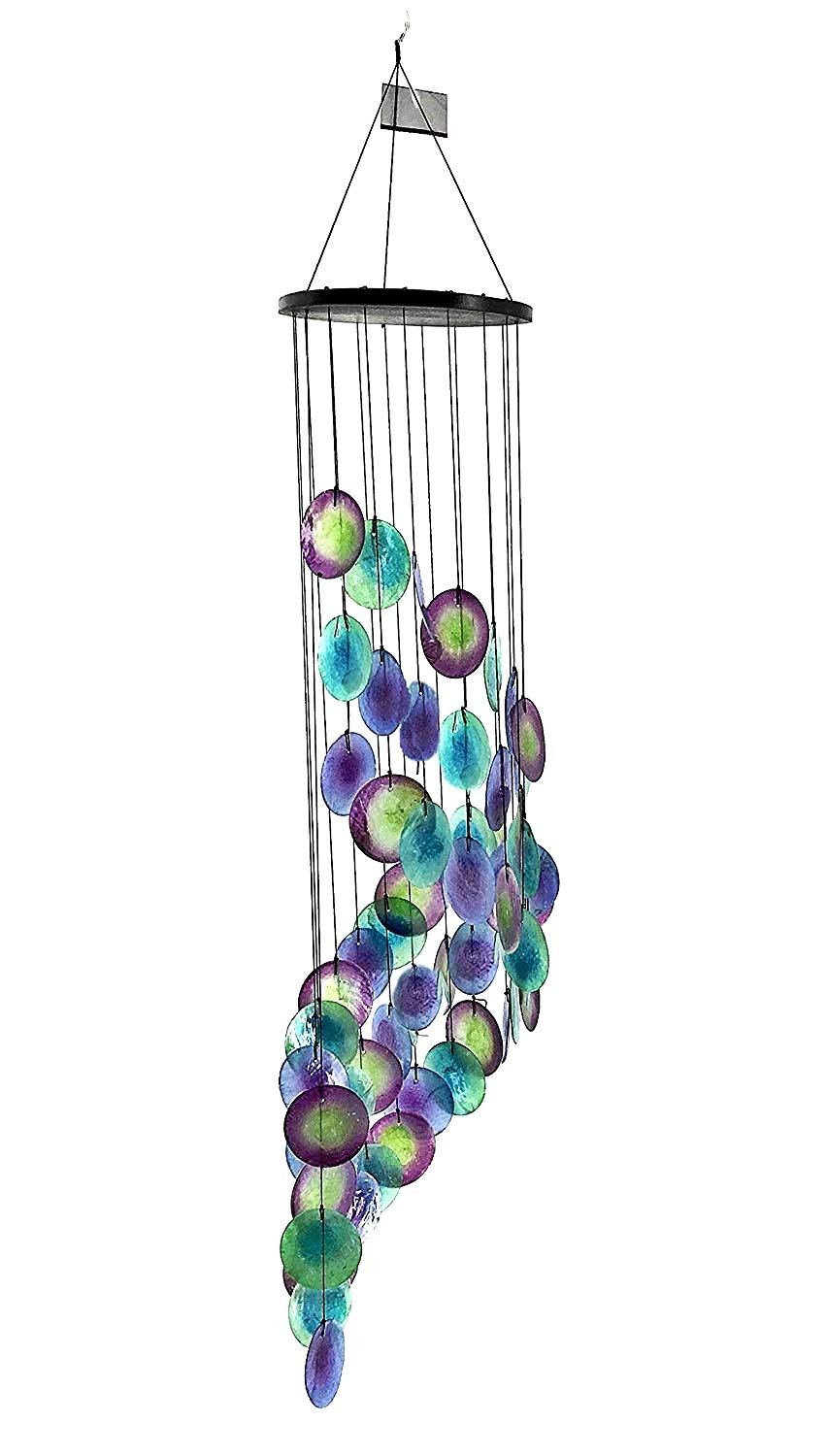 Bellaa 23332 Wind Chime Capiz Peacock Blue Handmade by Villagers 25'' x 6''