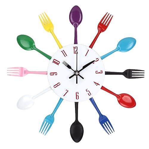 Uniquebella Metal Kitchen Cutlery Utensil Wall Clock Spoon: Wall Clock Cutlery Fork + Spoon Multi-coloured 37 Cm