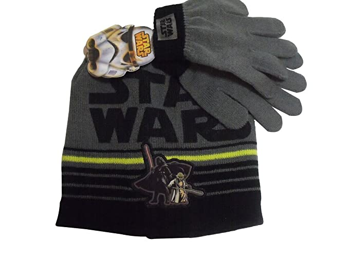 Image Unavailable. Image not available for. Color  Star Wars Darth Vader  Yoda Knit Winter Hat Gloves ... c9da31841a7a