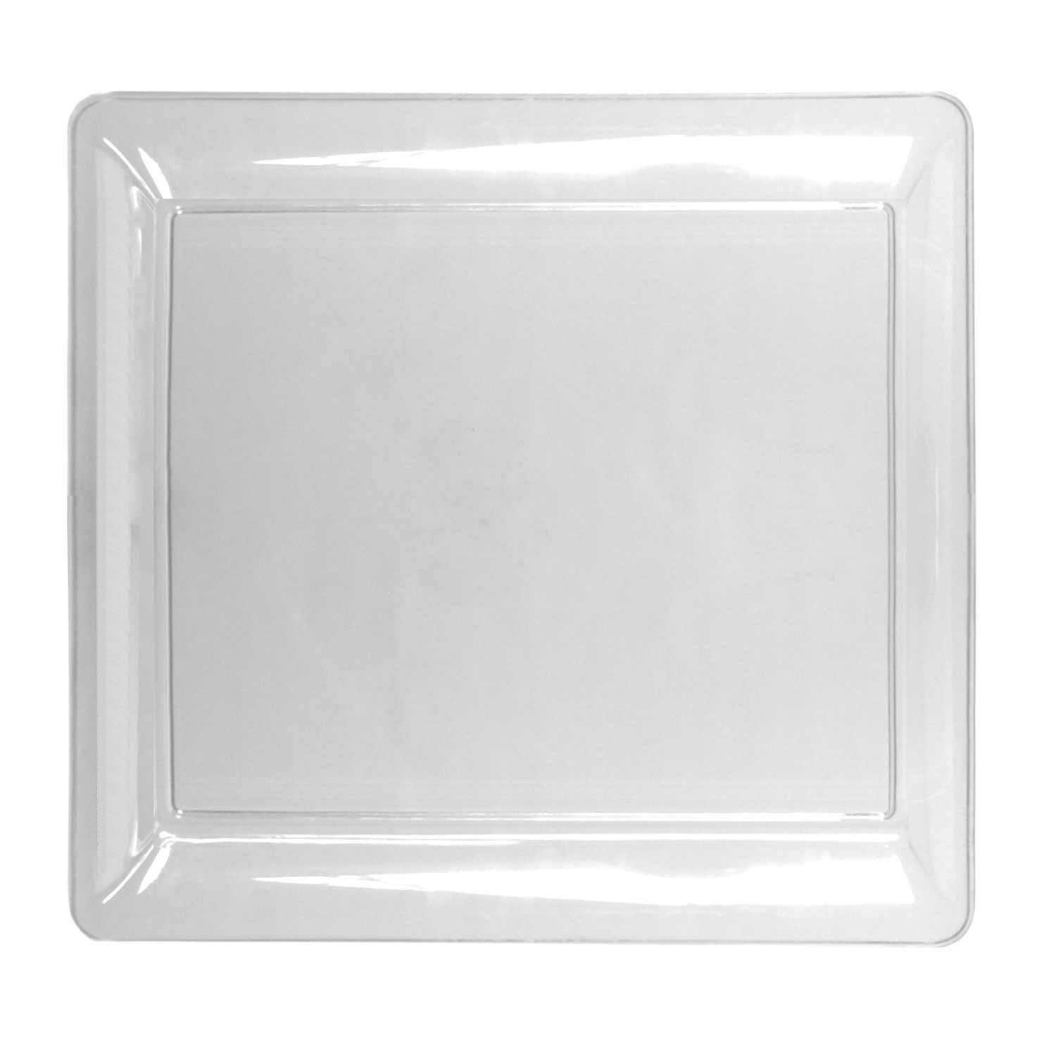 Party Essentials Heavy Duty Plastic Square Tray, 16'' Length x 16'' Width, Clear (Case of 6)