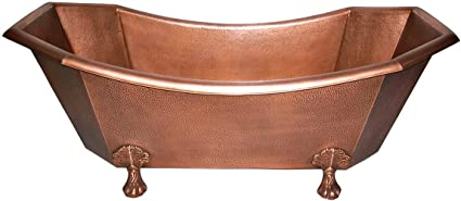 Solid Hammered Copper Bathtub Soaking 70 Inch 8 Sided Clawfoot Antique  Copper Patina Slipper Tub