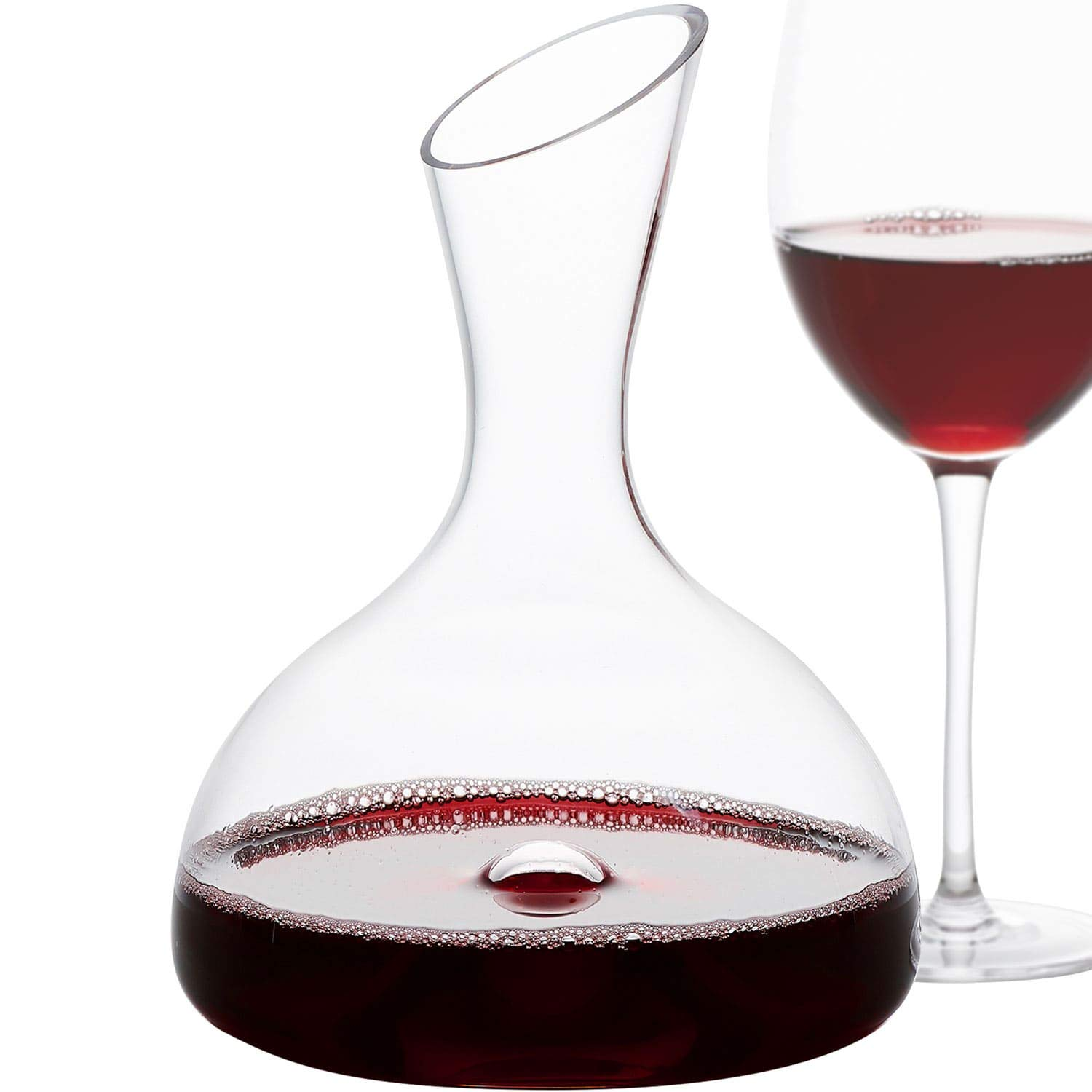 GoodGlassware Wine Decanter – Personal Red Wine Carafe with Wide Base and Aerating Punt - Crystal Clear Clarity, 100% Lead Free Glass (44 oz Capacity)