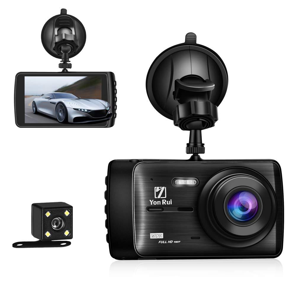 Dash Cam Dashboard Camera Recorder Rear Camera-4″ Full HD 1080P Car DVR Dashboard Camera G-Sensor, Loop Recording, WDR, Parking Guard [Upgraded Version]