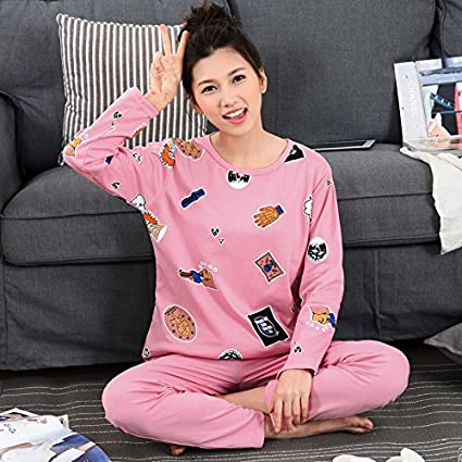 Syksdy Pajama Sets para Mujer De Algodón Imprimir Dibujos Animados Dormir Pijama De Manga Larga Y