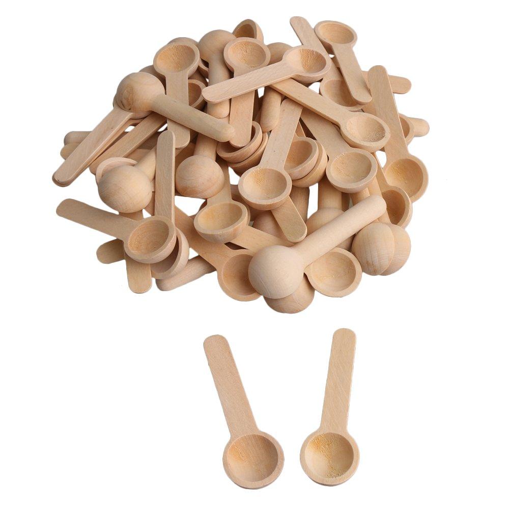 RDEXP Mini Nature Wooden Home Kitchen Cooking Spoons Tool Scooper Salt Seasoning Honey Coffee Spoons Set of 50
