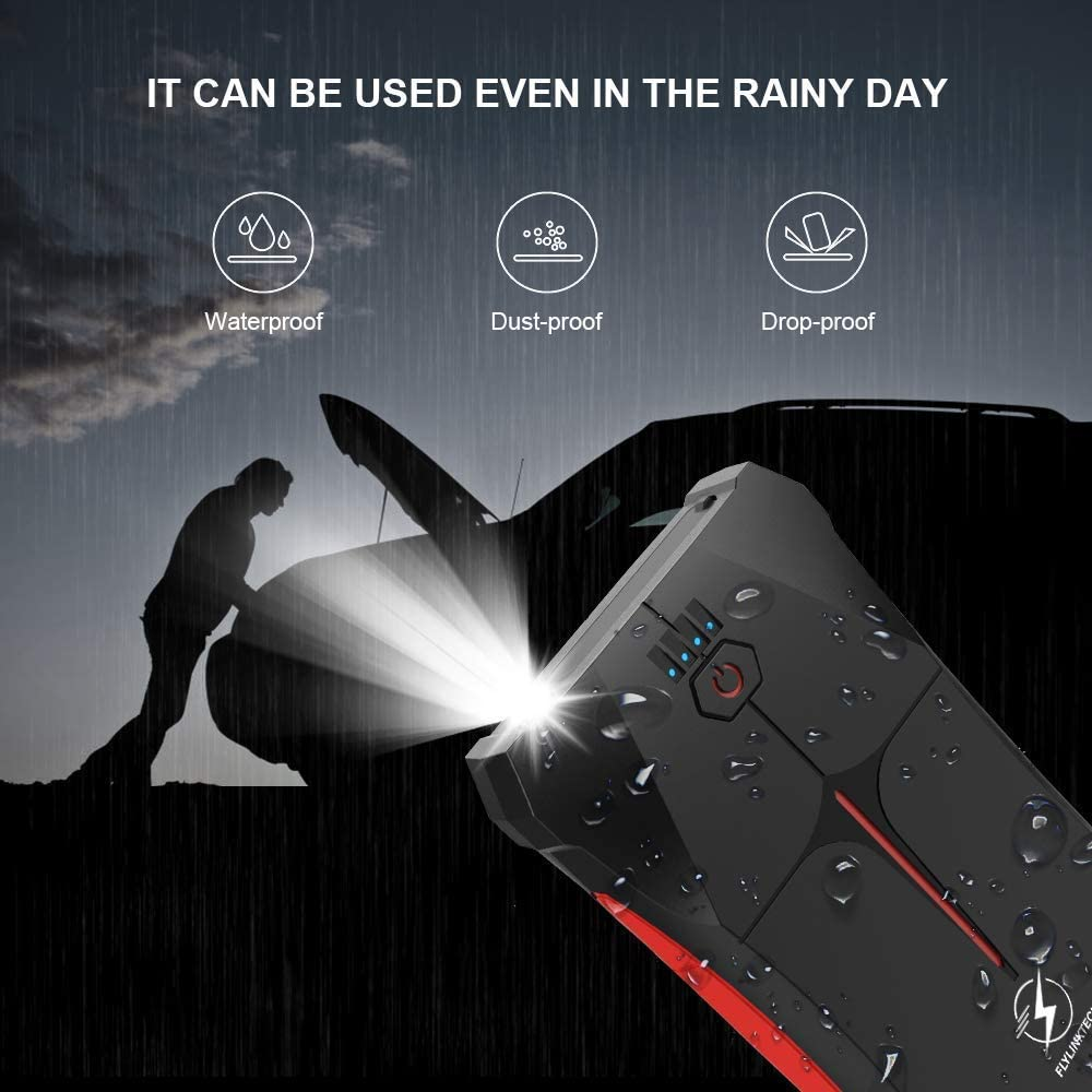 Jump Starter Emergency Auto Battery Booster with Smart USB Port LED Flashlight FLYLINKTECH 800A Peak 12000mAh IP67 Waterproof Car Jump Powerbank Pack Up to 4.0L Gas or 2.0L Diesel