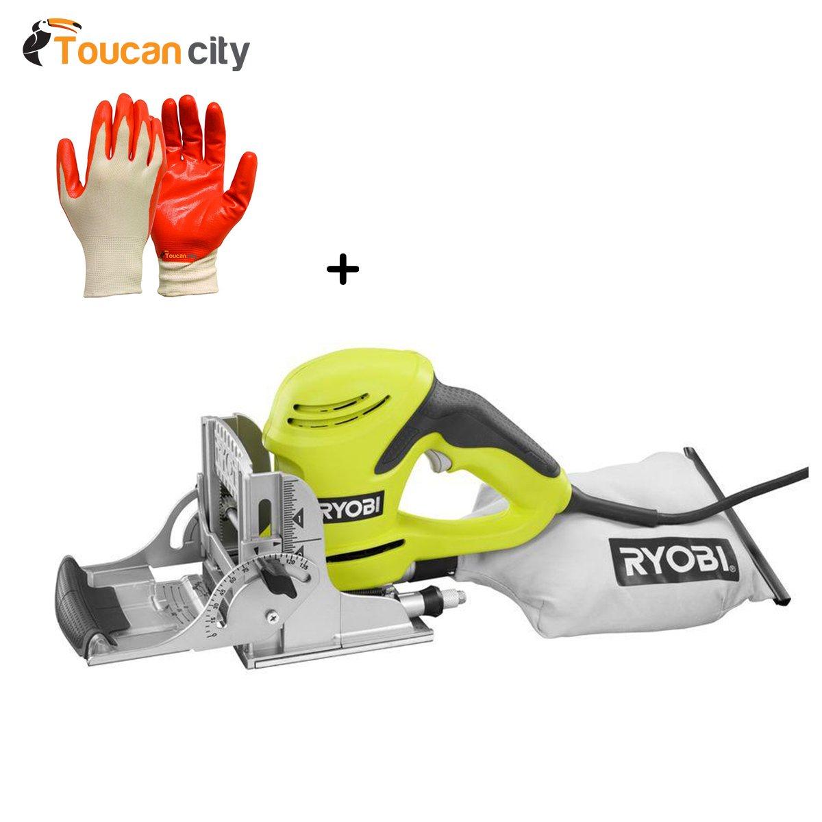 Ryobi 6-Amp Biscuit Joiner Kit JM82GK and Toucan City Nitrile Dip Gloves(5-Pack)