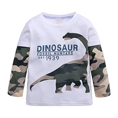 3cd040021 Fashionwu Kids Boys Cartoon Dinosaur Pattern Printing Cotton Long Sleeve T- Shirt: Amazon.in: Clothing & Accessories
