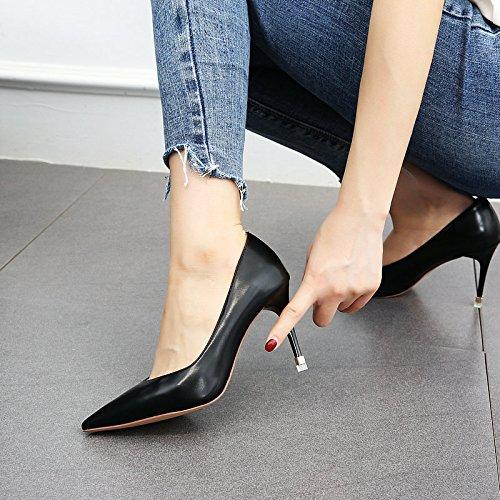 y de de Alto Zapatos Moda tacón Cuero wine de Zapatos YMFIE Lacado de Primavera de de Negro Cuero Verano Trabajo Zapatos Sexy tacón Rojo Red BTz4tfn