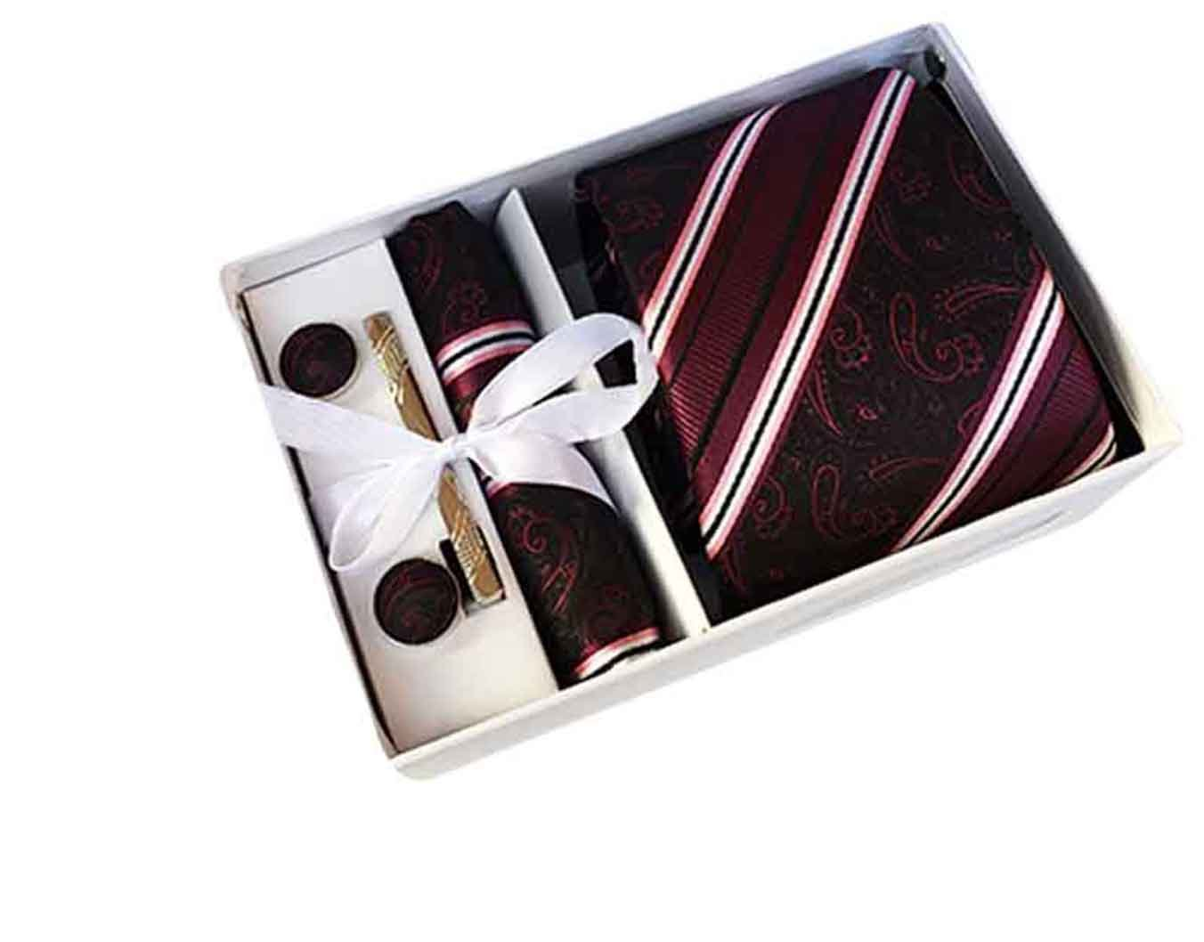 MENDENG Men Burgundy Stripe Paisley Necktie Tie Clip Pocket Square Cufflinks Set ENG1505