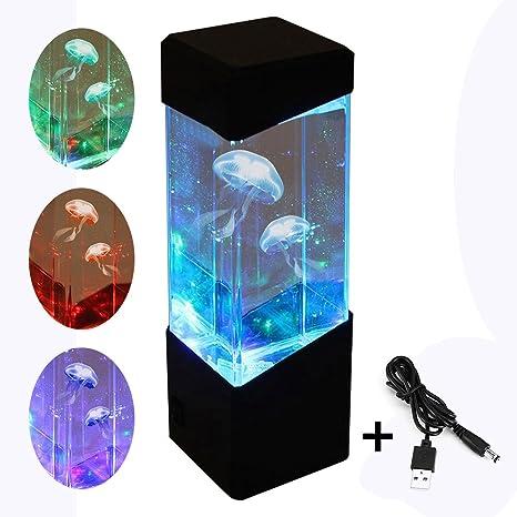 Iraza Medusas Lámpara Eléctrica LED Tanque Acuario con Cable llevó Artificial Medusas Acuario Iluminación Pecera de