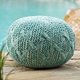 Ash Indoor/Outdoor Fabric Hand Knitted Weave Pouf (Aqua)