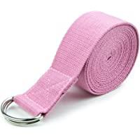 Yoga Stretch Strap D-Ring Belt Waist Leg Fitness 180CM Adjustable (Pink)