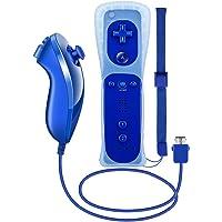 Prous Wii controller e Nunchuck, XW12 Nintendo Wii telecomando e Nunchuck con custodia in silicone e cinturino da polso per Wii e Wii U-Blu reale